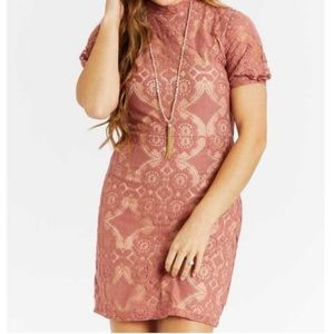 Altar'd State Allegra Lace Mock Neck Mini Dress